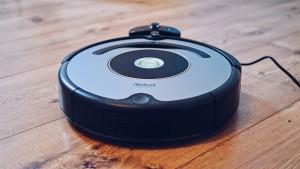 a round robotic vacuum cleaner